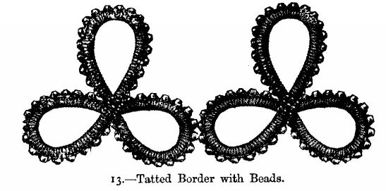 Tatted Border with Beads.